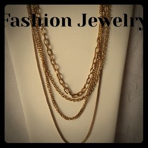 Jewelry - GORGEOUS Gold Tone Long Layered Necklace